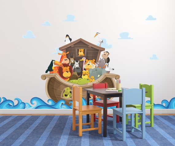 giant noah s ark wall decal noah with animals ark wall noahs ark wall decal reusable wall decal
