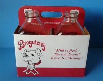 """Glass Milk Bottles """"Broguiere's Dairy Montebello, Ca Since 1920"""" 1 Quart"""
