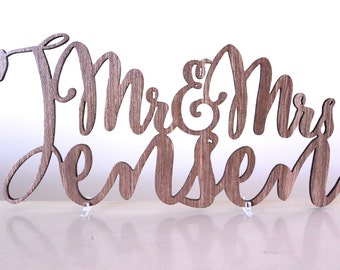 Personalised Mr and Mrs Surname Cake Topper Sign Wooden Acrylic