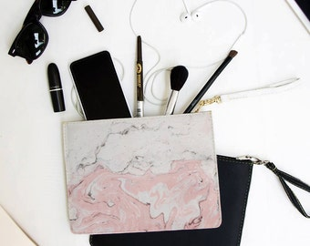 Pink Marble Clutch - 7x9 in Faux Leather Handbag - Clutch - Pouch - AGB-110-WHITE-FULL