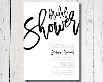 MONOCHROME Bridal Shower Invitation, Digital Invitation, Printable Invitation, Digital Bridal Shower Invite, Black and White Invitation