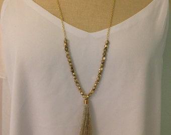 Gold Sparkle Tassel Necklace