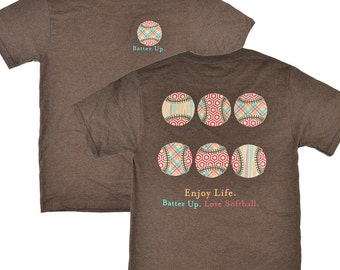 Batter Up Enjoy Life Softball Brown T-shirt - Was 19.95 NOW 11.97