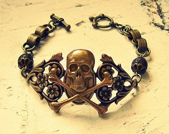 Pirate Bracelet, Pirate Accessories, Pirate Jewelry, Skull And Crossbones Bracelet, Skull And Crossbones Jewelry, Pirate Gift Idea For Her