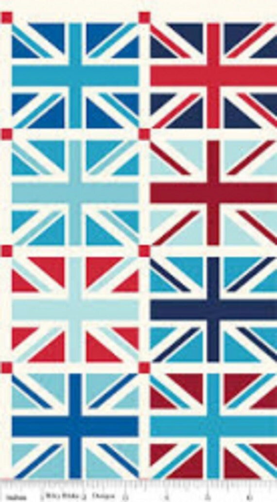 Union jack squares cotton fabric from riley blake by - Tissu drapeau anglais ...