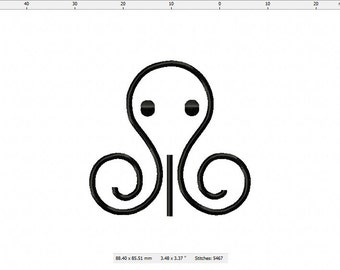 Swimming Octopus Machine Embroidery Design