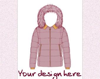 Custom fashion illustration, customized design, personalized outfit art, fashion portfolio color artwork