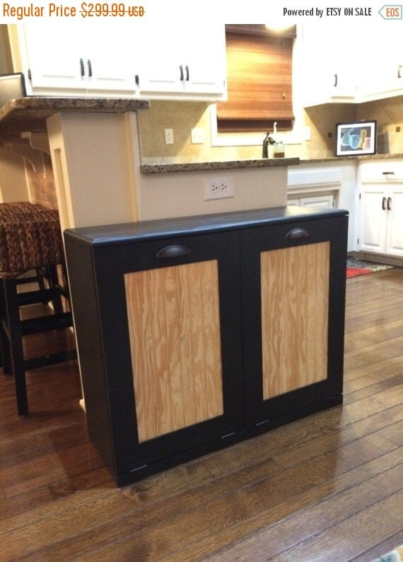 sale trash bin recycle bins tilt out rustic double by lovemade14. Black Bedroom Furniture Sets. Home Design Ideas