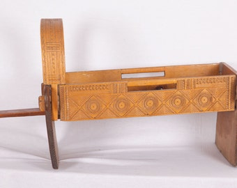 ALBANIAN Baby CRADLE Wool Heavily Hand Carved Ethnographic FREE Shipping Item No. E-109