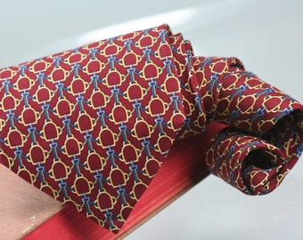 Vintage Brooks Brothers tie, Made in USA mens silk necktie, Blue, Maroon geometric silk foulard, American classic basic BB vintage cravat