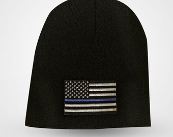 Thin blue line beanie/skull cap or cuff knit hat black  support police