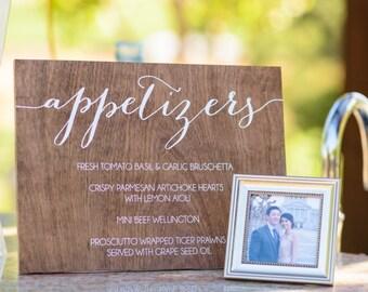 appetizers, hors d'oeuvres, food menu - drink menu - Wooden Wedding Signs - Wood