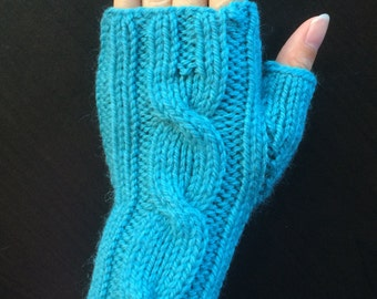 One Cable Fingerless Gloves/Hand Warmers/Manicure Gloves (Sea Blue)