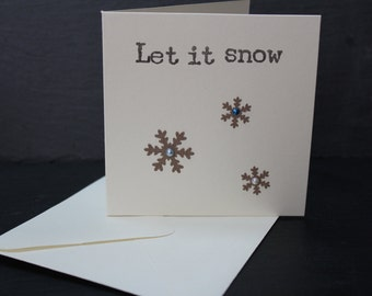 Christmas Card - let it snow - handmade pack of 4 cards