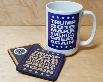"Donald Trump ""Make America Great Again"" For President 2016 Coffee Mug Magnet Coaster Combo Kit FREE SHIPPING"