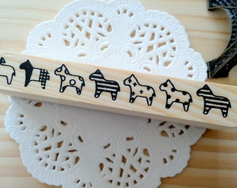 Stamp Tree Horses Design Wooden Rubber Stamp/1 PC