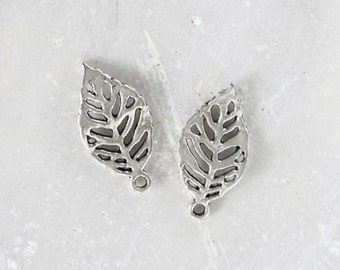 1829_Leaf pendant 23х12 mm, Metal pendant,Silver leaf pendant,Antique silver pendant,Glossy leaves pendant,Silver findings for jewelry_16pcs