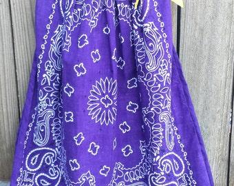 Purple Dress, Photo Shoot Dress, Fall Wedding Dress, Flower Girls Dress, Bandanna Dress, Purple Pillowcase Dress, Purple Bandanna Dress