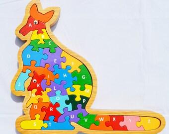 Kangaroo//Alphabet toys,Wooden Puzzle, animal puzzle, educational puzzle,toddler toys,learning toys,letter puzzles,holiday gifts,reggio toys