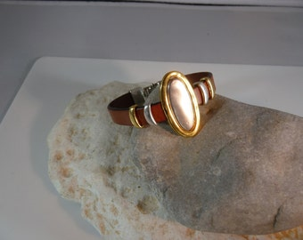 Gold and silver oval leather bracelet
