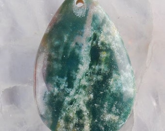 Natural Indian Agate pendant teardrop shape gray-green color. 46x30x8 mm