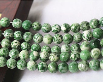 Green Spot Beads, Natural and Smooth Round Beads, 6mm 8 mm 10mm 12mm,15 inches per strand