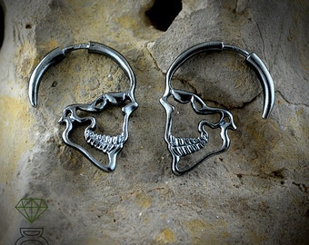 Black Skulls Earrings,Sterling silver Earrings