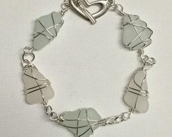 Aqua & White Sea Glass Silver Wire Wrapped Bracelet