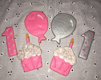 Pink and silver 1st, 2nd or 3rd Birthday party cookies -  birthday party favors - cupcake birthday cookies - edible birthday party decoratio