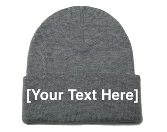 Custom Beanie, Custom Beanies, Custom Embroidered Beanie, Custom Beanie Hat, Light Gray