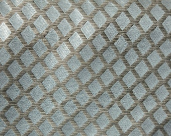 Blue with Brown Diamonds Drapery Fabric