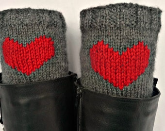 Hand Knitted Heart Boot cuffs/Toppers/Socks. Ankle Warmers. Hand Embroidered.