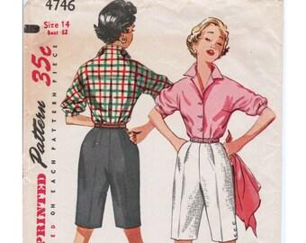1950s Shorts Pattern Womens Shorts SIMPLICITY 4746 sz 14 b 32 Walking Shorts High Waisted Shorts Womens Shirt Vintage Shirt Vintage Shorts