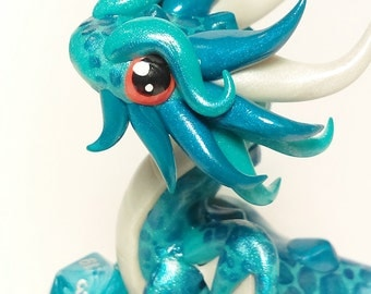 Polymer Clay Dragon Dice Holder- Pearl Teal, Pearl Peacock, and Pearl White: Pequod
