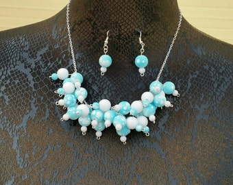 Beautiful Light Blue And White Chunky Cluster Necklace & Earrings Jewellery/Jewelry Set