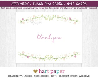 Lily of the Valley Flower Summer Party Printed Thank You Cards Folded Flat Card Notecard Stationery Birthday Baby Shower Bridal Wedding Gift