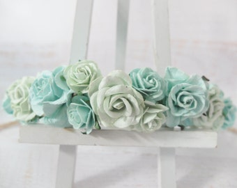 Mint flower crown - wedding floral hair wreath - flower headpiece for girls - flower hair accessories