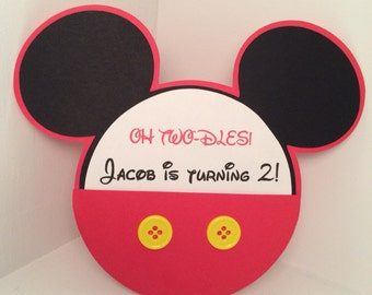 Mickey Mouse birthday invitation with envelope