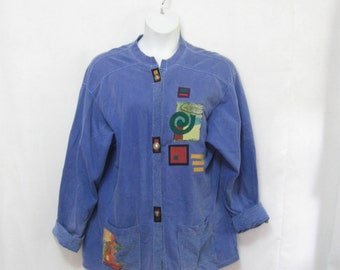 Vintage Misses XL Button Front Sweatshirt with Abstract Decoration and Pockets See Details
