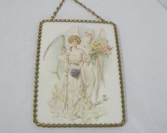 Vintage 1980's Flue Cover Wall Hanging Bride with Angel Chain Link Edges