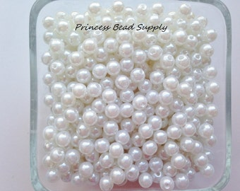 6mm White Pearl Beads Set of 100 or 200,  6mm White Pearl Spacer Beads, 6mm White Pearls, 6mm Spacer Beads, Chunky Bubble Gum Beads,