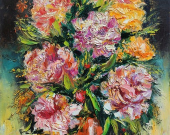 Peony oil painting, Original Floral Impasto painting on canvas, Palette knife painting, Flowers Wall art decor, Colorful Floral Still life