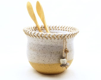 Handmade Pottery Jar/Bowl, Unique Utensils Organizer, Speckled White Glaze, Wheel Thrown Ceramic Bowl, One-of-a-Kind Kitchen Pot, Great Gift