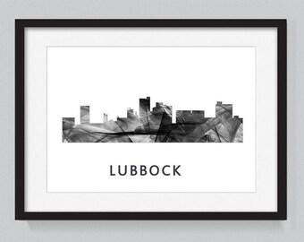 Lubbock, Texas skyline WB BW