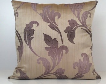 Purple, Light Purple and Beige Pillow, Throw Pillow Cover, Decorative Pillow Cover, Cushion Cover, Toss Pillow, Silk Blend, Floral Pillow.