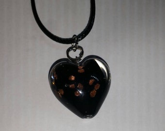 Heart necklace, loveheart necklace, black heart, black heart necklace, gold specks, black heart with gold specks
