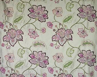 DESIGNER FLORAL VINES Embroidered Silk Fabric 10 Yards Aubergine
