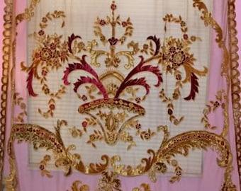 ITALIAN SOPHIA EMBROIDERED Velvet Fabric Sheer Drapes Panel Burgundy Gold