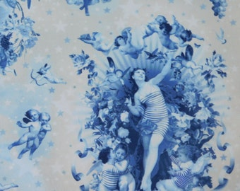 DESIGNER HEAVENLY ANGELS Cherubs French Toile Fabric 10 Yards Blue Cream-Taupe