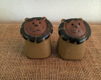 Fitz and Floyd Lion Face Stoneware Salt and Pepper Shakers